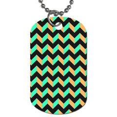 Neon And Black Modern Retro Chevron Patchwork Pattern Dog Tag (one Sided) by creativemom