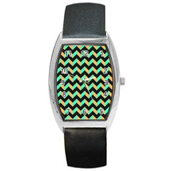 Neon And Black Modern Retro Chevron Patchwork Pattern Tonneau Leather Watch by creativemom