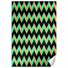 Neon And Black Modern Retro Chevron Patchwork Pattern Canvas 12  X 18  (unframed)