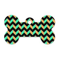 Neon And Black Modern Retro Chevron Patchwork Pattern Dog Tag Bone (one Sided) by creativemom