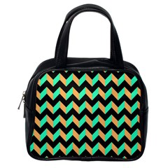 Neon And Black Modern Retro Chevron Patchwork Pattern Classic Handbag (one Side) by creativemom