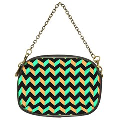 Neon And Black Modern Retro Chevron Patchwork Pattern Chain Purse (one Side) by creativemom