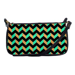 Neon And Black Modern Retro Chevron Patchwork Pattern Evening Bag by creativemom