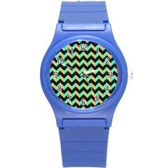 Neon And Black Modern Retro Chevron Patchwork Pattern Plastic Sport Watch (small) by creativemom