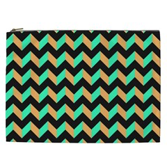 Neon And Black Modern Retro Chevron Patchwork Pattern Cosmetic Bag (xxl) by creativemom
