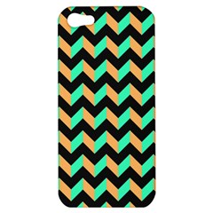 Neon And Black Modern Retro Chevron Patchwork Pattern Apple Iphone 5 Hardshell Case by creativemom