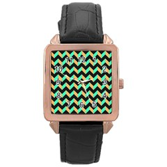 Neon And Black Modern Retro Chevron Patchwork Pattern Rose Gold Leather Watch  by creativemom