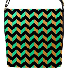 Neon And Black Modern Retro Chevron Patchwork Pattern Flap Closure Messenger Bag (small) by creativemom