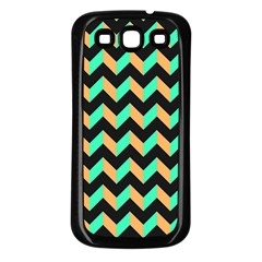 Neon And Black Modern Retro Chevron Patchwork Pattern Samsung Galaxy S3 Back Case (black) by creativemom