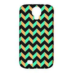 Neon And Black Modern Retro Chevron Patchwork Pattern Samsung Galaxy S4 Classic Hardshell Case (pc+silicone) by creativemom