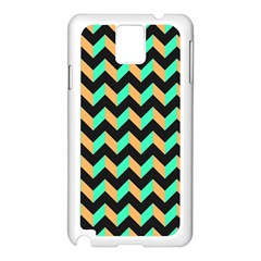 Neon And Black Modern Retro Chevron Patchwork Pattern Samsung Galaxy Note 3 N9005 Case (white) by creativemom