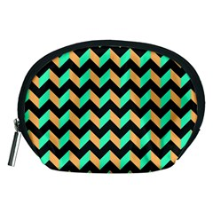 Neon And Black Modern Retro Chevron Patchwork Pattern Accessory Pouch (medium)