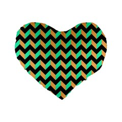 Neon And Black Modern Retro Chevron Patchwork Pattern 16  Premium Flano Heart Shape Cushion  by creativemom