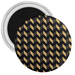 Tan Gray Modern Retro Chevron Patchwork Pattern 3  Button Magnet by creativemom