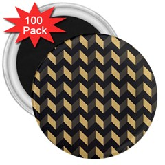 Tan Gray Modern Retro Chevron Patchwork Pattern 3  Button Magnet (100 Pack) by creativemom