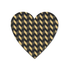 Tan Gray Modern Retro Chevron Patchwork Pattern Magnet (heart) by creativemom