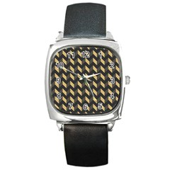 Tan Gray Modern Retro Chevron Patchwork Pattern Square Leather Watch by creativemom