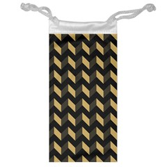 Tan Gray Modern Retro Chevron Patchwork Pattern Jewelry Bag by creativemom