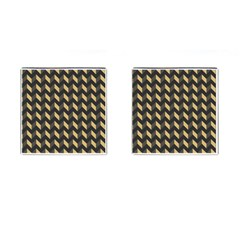 Tan Gray Modern Retro Chevron Patchwork Pattern Cufflinks (square) by creativemom