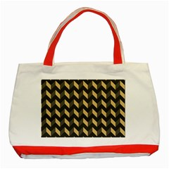 Tan Gray Modern Retro Chevron Patchwork Pattern Classic Tote Bag (red) by creativemom
