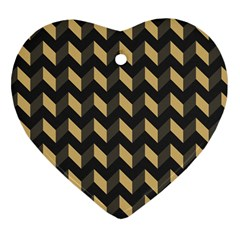 Tan Gray Modern Retro Chevron Patchwork Pattern Heart Ornament (two Sides) by creativemom