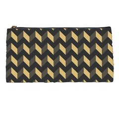 Tan Gray Modern Retro Chevron Patchwork Pattern Pencil Case by creativemom