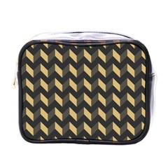 Tan Gray Modern Retro Chevron Patchwork Pattern Mini Travel Toiletry Bag (one Side) by creativemom