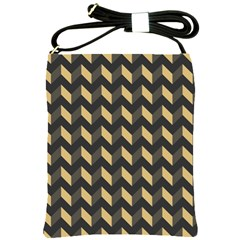 Tan Gray Modern Retro Chevron Patchwork Pattern Shoulder Sling Bag by creativemom