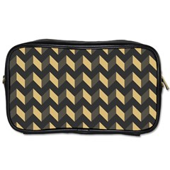 Tan Gray Modern Retro Chevron Patchwork Pattern Travel Toiletry Bag (two Sides) by creativemom