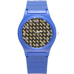 Tan Gray Modern Retro Chevron Patchwork Pattern Plastic Sport Watch (small) by creativemom