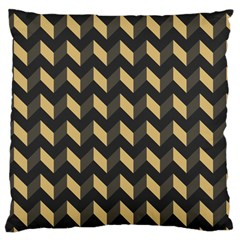 Tan Gray Modern Retro Chevron Patchwork Pattern Large Cushion Case (single Sided)  by creativemom