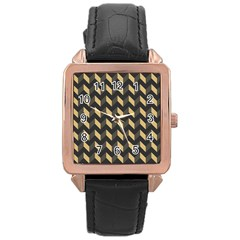 Tan Gray Modern Retro Chevron Patchwork Pattern Rose Gold Leather Watch  by creativemom