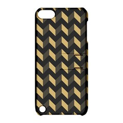 Tan Gray Modern Retro Chevron Patchwork Pattern Apple Ipod Touch 5 Hardshell Case With Stand by creativemom