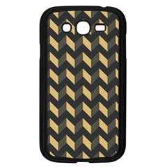 Tan Gray Modern Retro Chevron Patchwork Pattern Samsung Galaxy Grand Duos I9082 Case (black) by creativemom