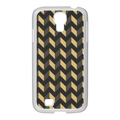 Tan Gray Modern Retro Chevron Patchwork Pattern Samsung Galaxy S4 I9500/ I9505 Case (white) by creativemom