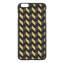 Tan Gray Modern Retro Chevron Patchwork Pattern Apple Iphone 6 Plus Black Enamel Case by creativemom