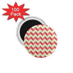 Mint Pink Modern Retro Chevron Patchwork Pattern 1 75  Button Magnet (100 Pack) by creativemom