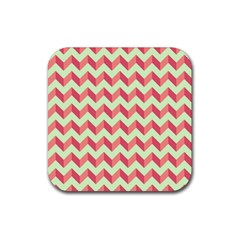 Mint Pink Modern Retro Chevron Patchwork Pattern Drink Coaster (square) by creativemom