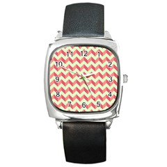 Mint Pink Modern Retro Chevron Patchwork Pattern Square Leather Watch by creativemom