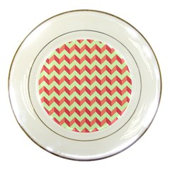 Mint Pink Modern Retro Chevron Patchwork Pattern Porcelain Display Plate by creativemom