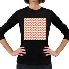 Mint Pink Modern Retro Chevron Patchwork Pattern Women s Long Sleeve T-shirt (dark Colored) by creativemom