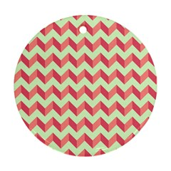 Mint Pink Modern Retro Chevron Patchwork Pattern Round Ornament (two Sides) by creativemom