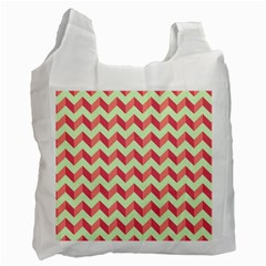 Mint Pink Modern Retro Chevron Patchwork Pattern White Reusable Bag (one Side) by creativemom