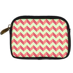 Mint Pink Modern Retro Chevron Patchwork Pattern Digital Camera Leather Case by creativemom