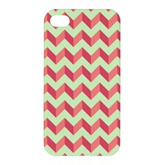 Mint Pink Modern Retro Chevron Patchwork Pattern Apple Iphone 4/4s Hardshell Case by creativemom