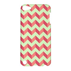 Mint Pink Modern Retro Chevron Patchwork Pattern Apple Ipod Touch 5 Hardshell Case by creativemom