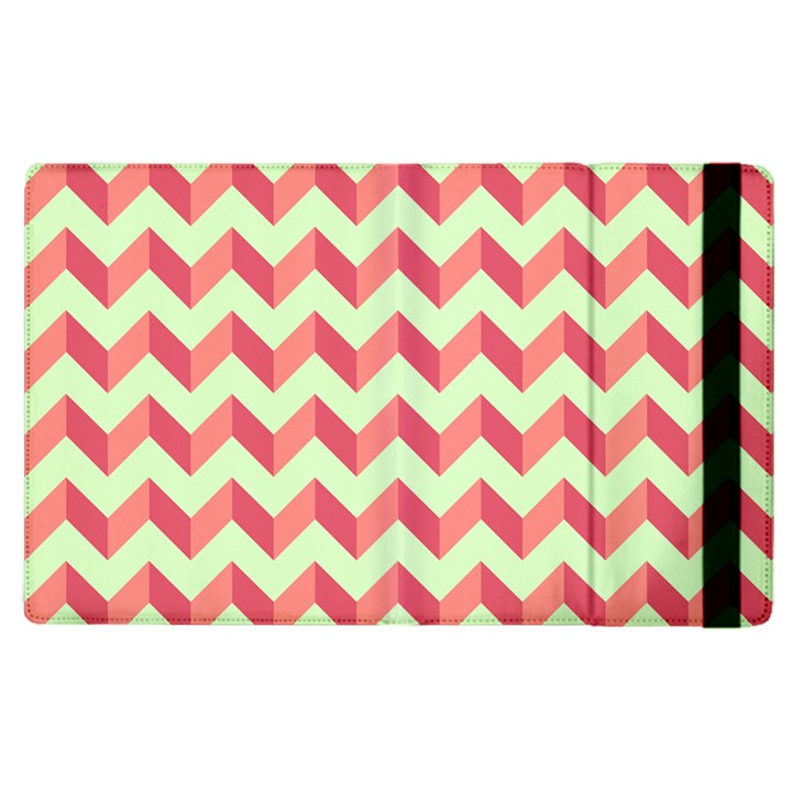Mint Pink Modern Retro Chevron Patchwork Pattern Apple iPad 2 Flip Case