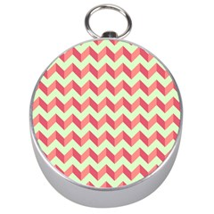 Mint Pink Modern Retro Chevron Patchwork Pattern Silver Compass by creativemom