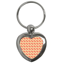 Modern Retro Chevron Patchwork Pattern Key Chain (heart) by creativemom