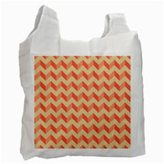 Modern Retro Chevron Patchwork Pattern White Reusable Bag (one Side) by creativemom